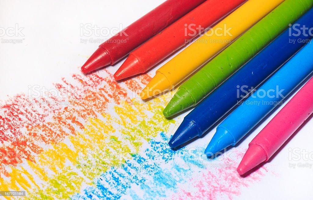Regenbogen Der Bunten Wachsmalstift Farbe Für Kinder Stock ...