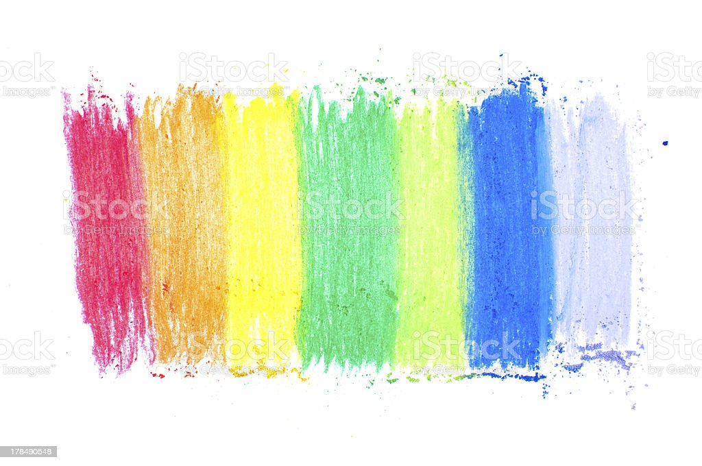 Rainbow colorful crayon pastels stock photo