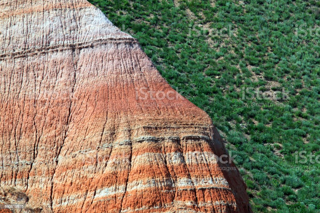 Rainbow colorful eroded mountain close up stock photo
