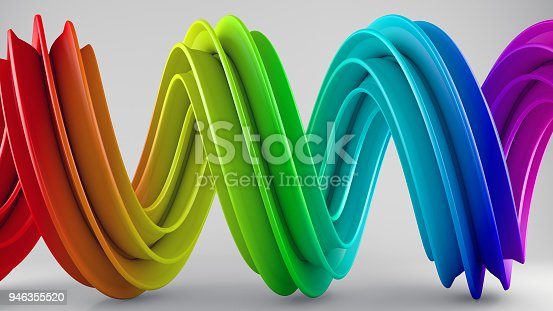 istock Rainbow colorful gradient twisted spiral shape 3D rendering 946355520
