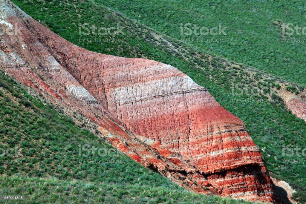 Rainbow colorful mountain slope stock photo