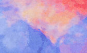 Dramatic Vibrant Watercolor Abstract Art painting, blue, purple, orange, pink