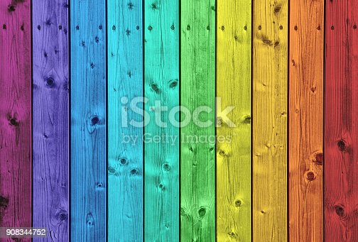 Colorful wood background obtained by shooting close-up on wood surface panel and applying rainbow colors in Photoshop.