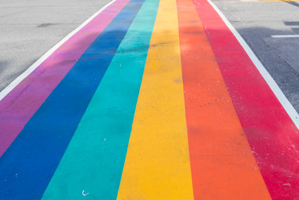 Rainbow coloured crosswalk for Pride Month on Church street in Toronto stock photo