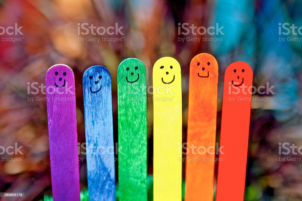 Rainbow coloured Happy Stick people – Foto