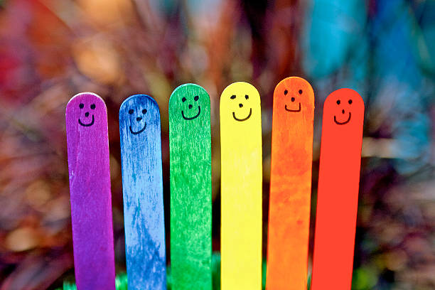 Rainbow coloured Happy Stick people – Foto