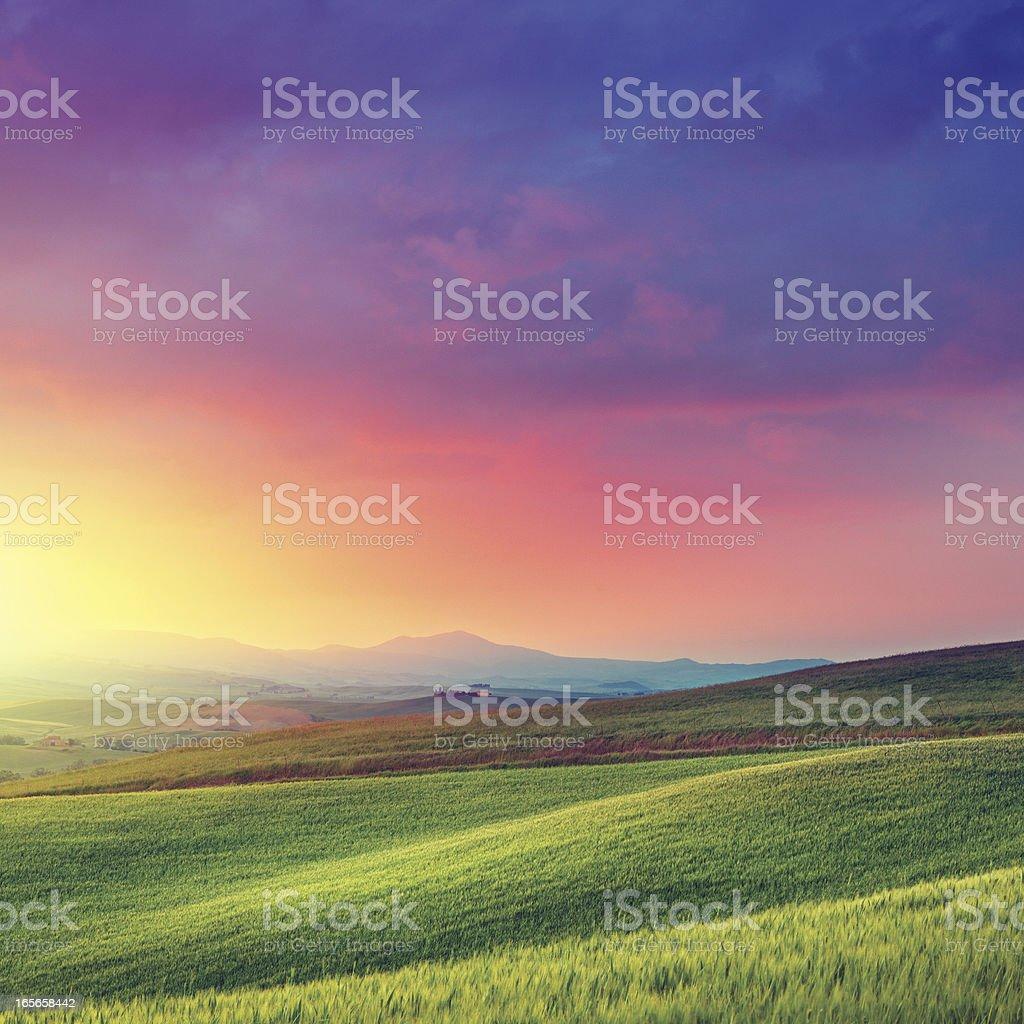 Rainbow dawn in Tuscany royalty-free stock photo