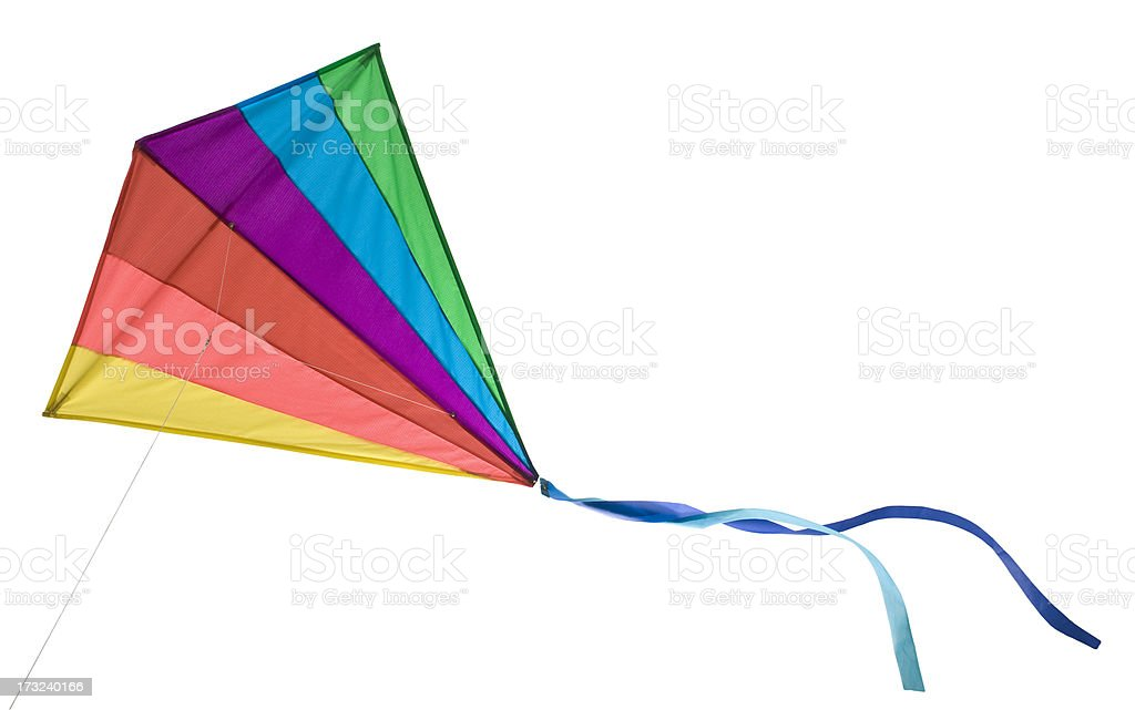 Rainbow Delta Kite Isolated on White with Clipping Path royalty-free stock photo