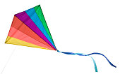 A rainbow colored delta kite isolated on white with clipping path.