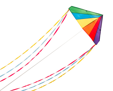 Rainbow Delta Kite.  Isolated on White with Clipping Path