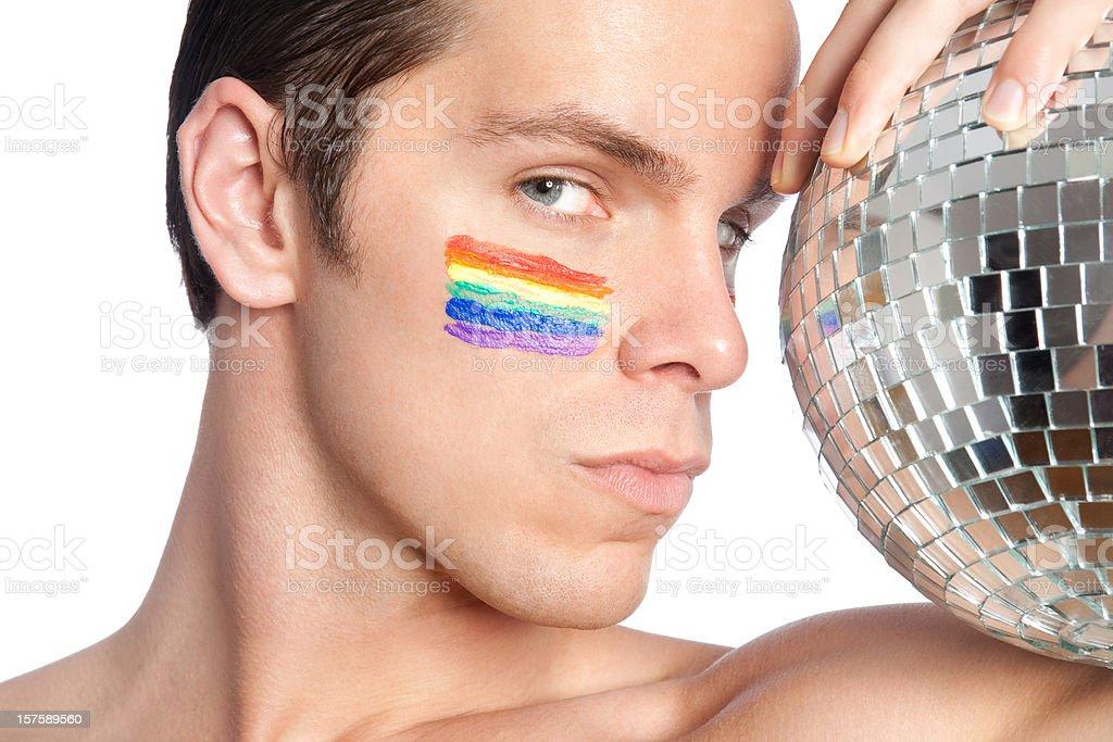 Rainbow Disco Ball Man royalty-free stock photo