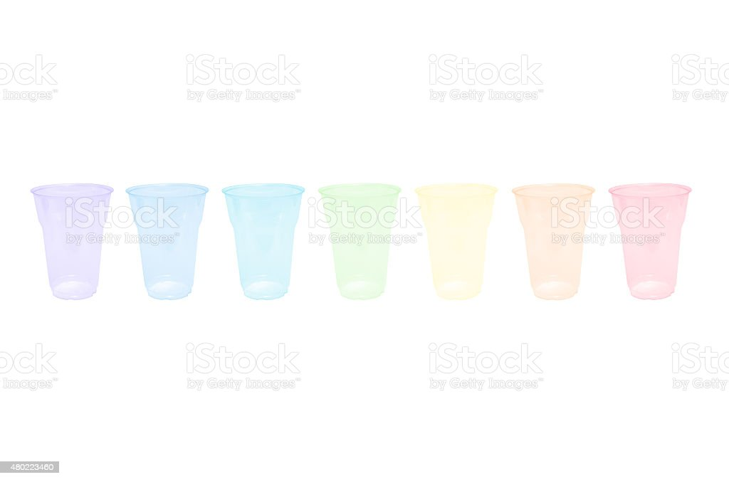 rainbow disposible glasses stock photo