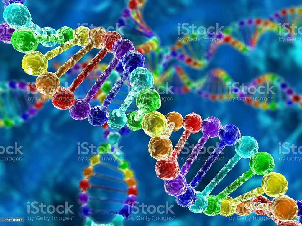 Rainbow DNA (deoxyribonucleic acid) stock photo