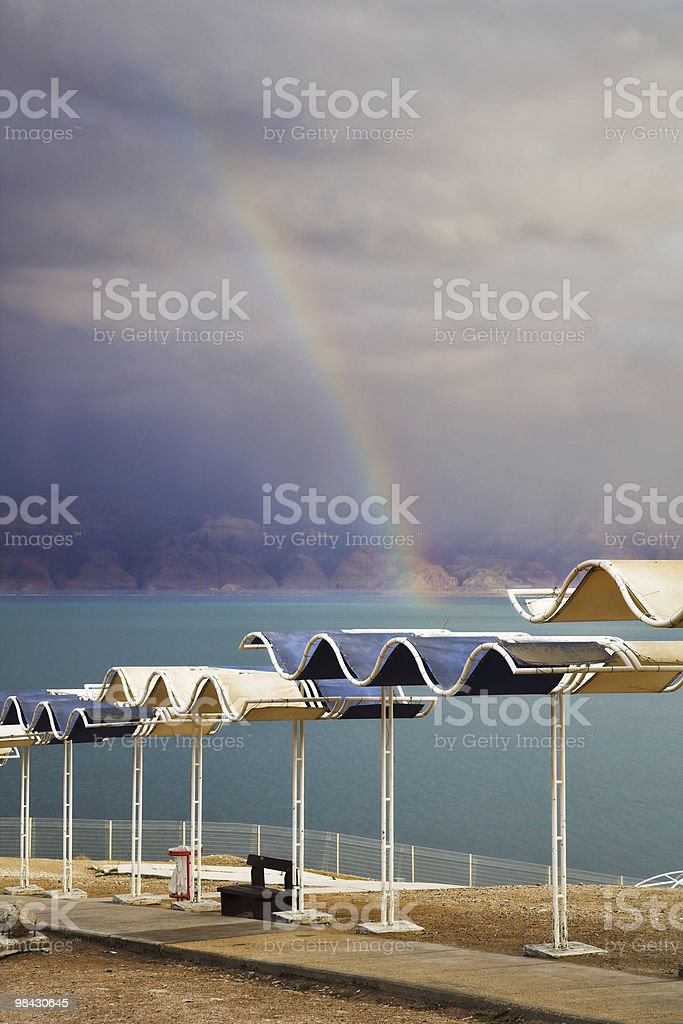 rainbow during  thunder-storm on the Dead Sea royalty-free stock photo