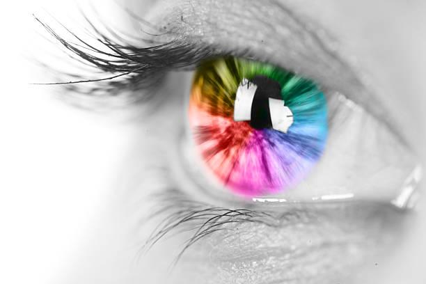 Rainbow eye closeup Female eye with rainbow multicolored iris close up iris eye stock pictures, royalty-free photos & images