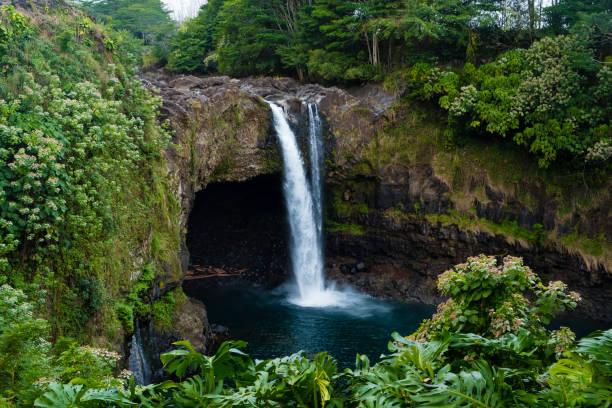 Rainbow Falls Big Island Hawaii stock photo