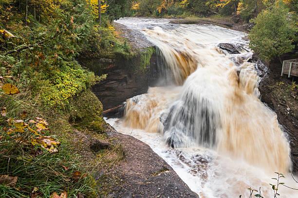 Rainbow Falls in Autumn - Black River Scenic Byway in Michigan
