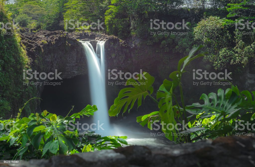 Rainbow Falls in summer stock photo