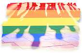Rainbow flag and shadows concept picture