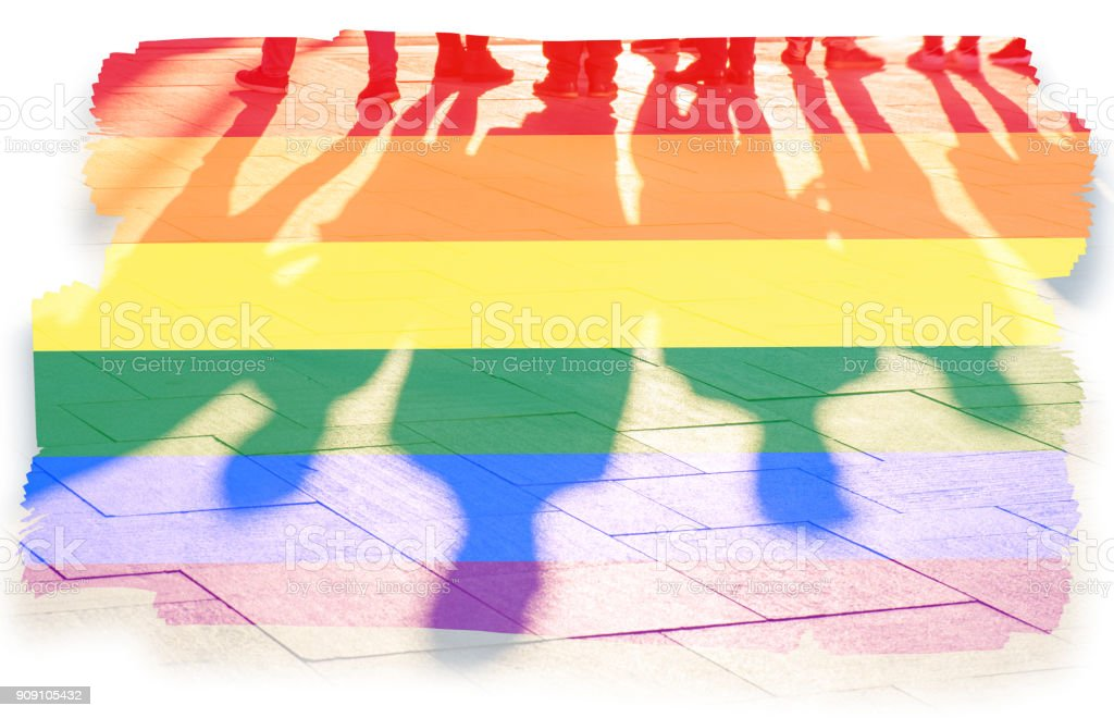 Rainbow flag and shadows concept picture stock photo