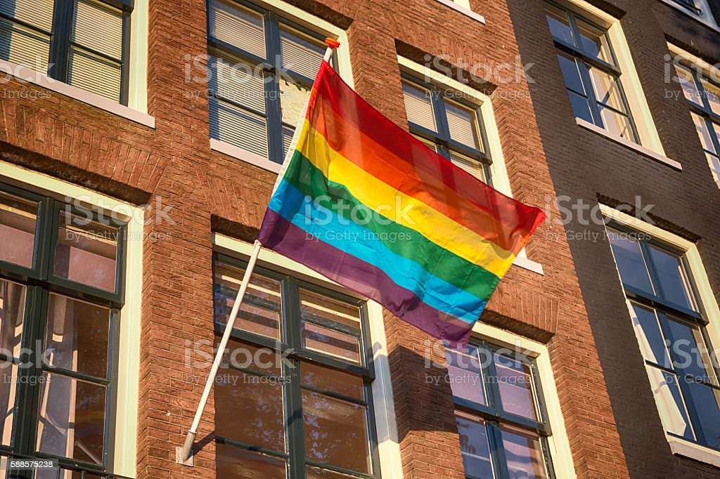 Rainbow Flag Gay Rights Pride in Amsterdam, Netherlands stock photo