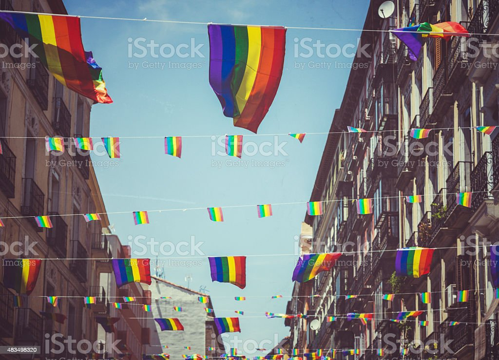 Rainbow Flag Gay Rights Pride in Madrid, Spain stock photo