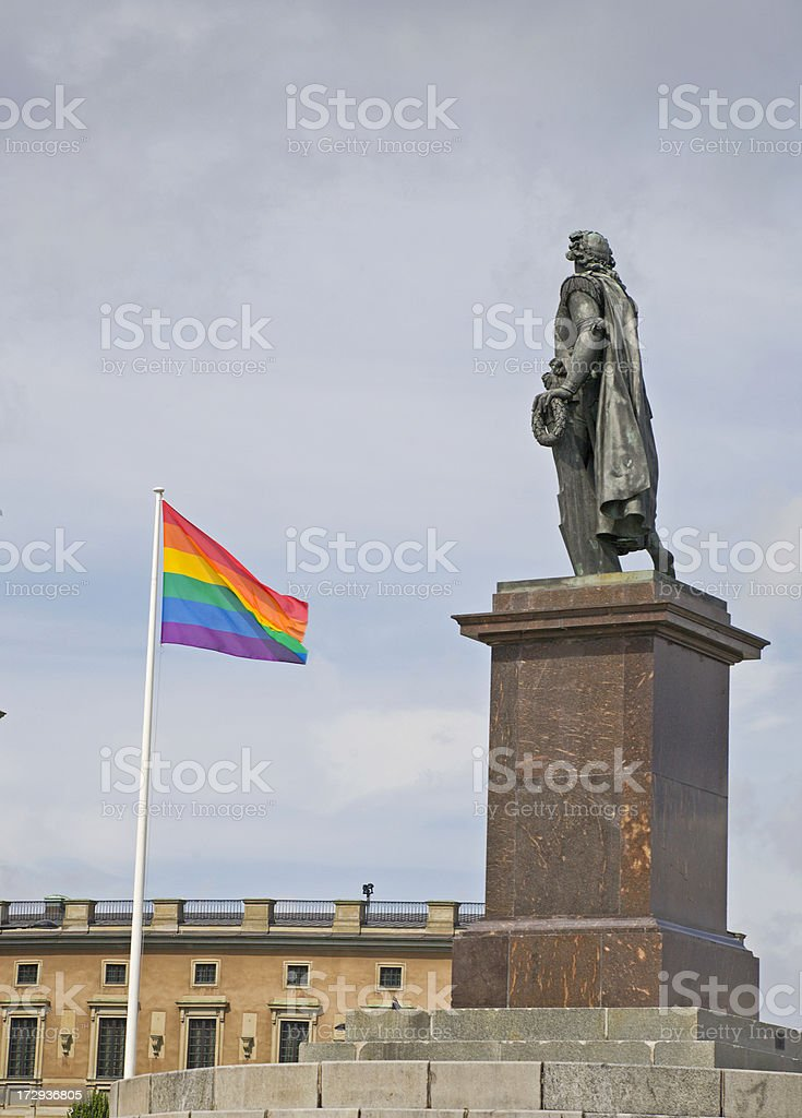 rainbow flag in Stockholm. royalty-free stock photo