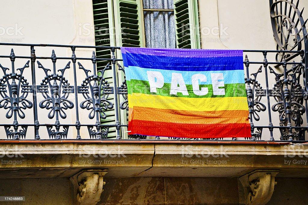 Rainbow flag on balcony in Barcelona, Spain royalty-free stock photo