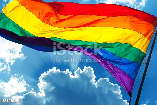 istock Rainbow flag on cloudy sky background 831245252