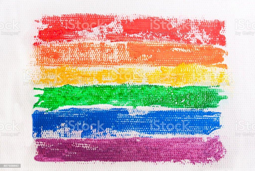 Rainbow flag painted on canvas. The LGBT Symbol