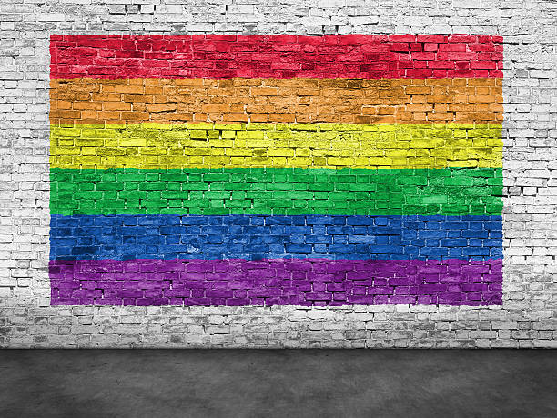 And mobile app Gay pride flag on a brick wall