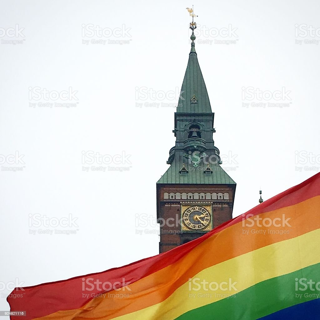 Rainbow flag Pride in Copenhagen stock photo