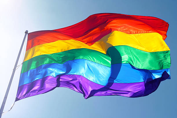 Rainbow flag, sun, wind, and blue sky Big rainbow flag is waving in the wind with sun shining throughMore of my flag images: lgbtqi rights stock pictures, royalty-free photos & images