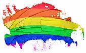 Rainbow flag textured oil paint brush stroke, isolated on white background.