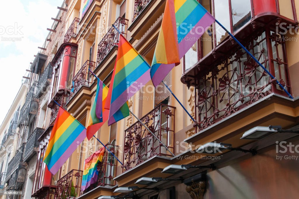 Rainbow flags in Madrid stock photo