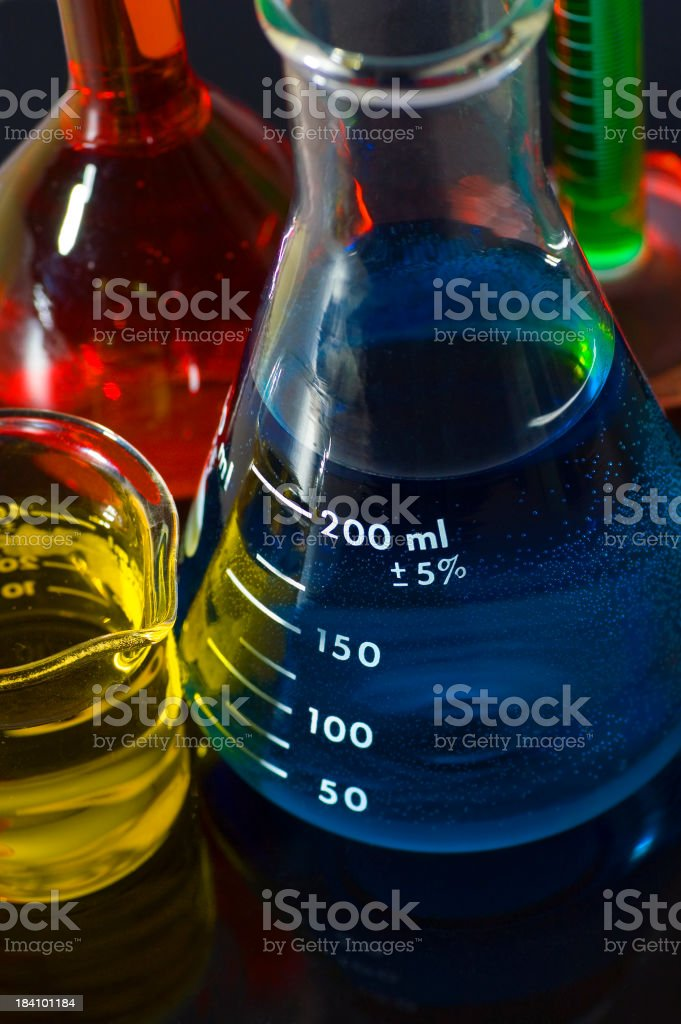 Rainbow Flasks and Beakers on Black royalty-free stock photo