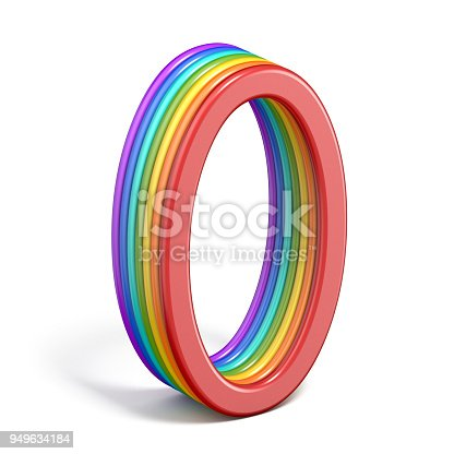 845307368 istock photo Rainbow font number 0 ZERO 3D 949634184