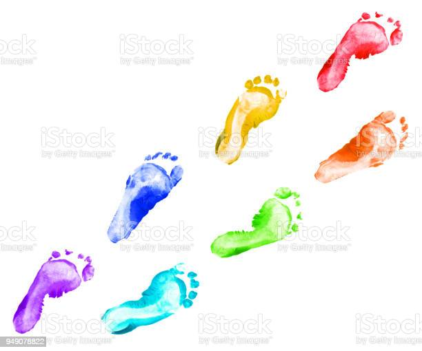 Rainbow foot prints kid colorful set isolated on white background picture id949078822?b=1&k=6&m=949078822&s=612x612&h=3oo6e sll4o 3quey stlnb zm2nxx0pqzvvmc 21ns=