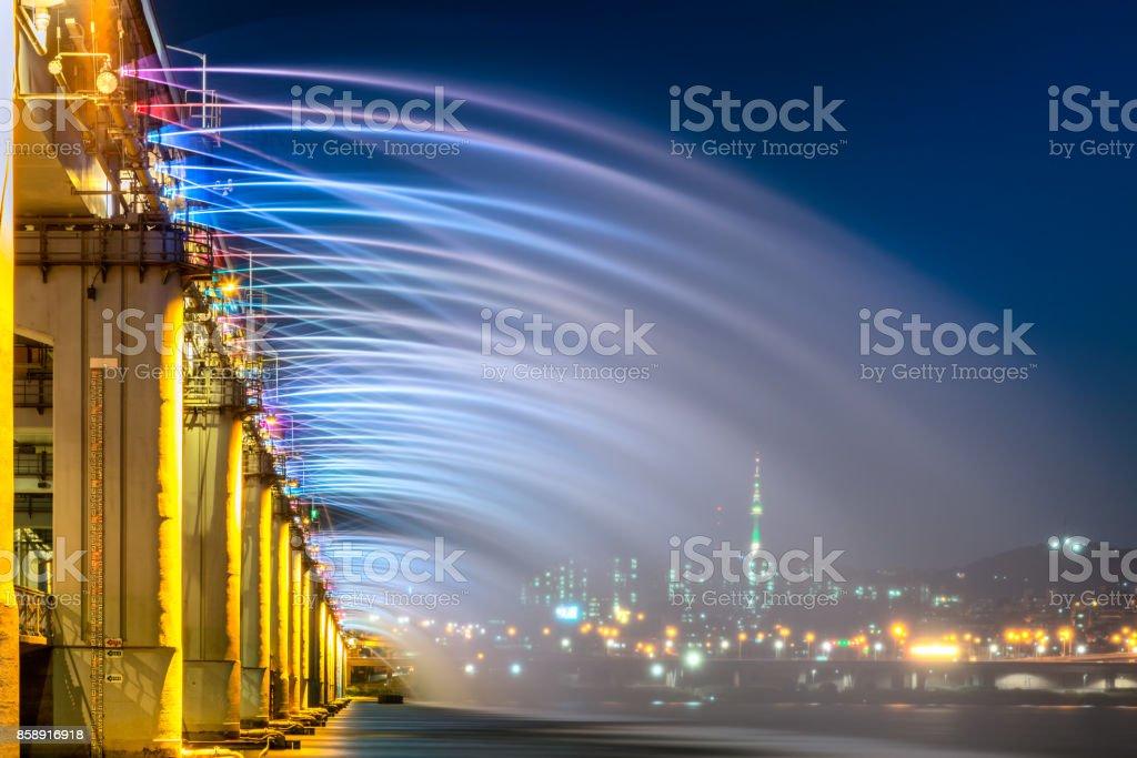 Rainbow fountain show at Banpo Bridge in Seoul city,South Korea. stock photo