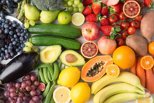 istock Rainbow fruits and vegetables, top view 924858812