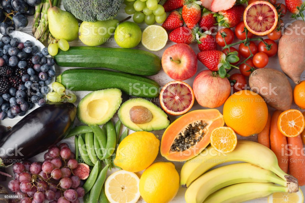 Rainbow fruits and vegetables, top view stock photo