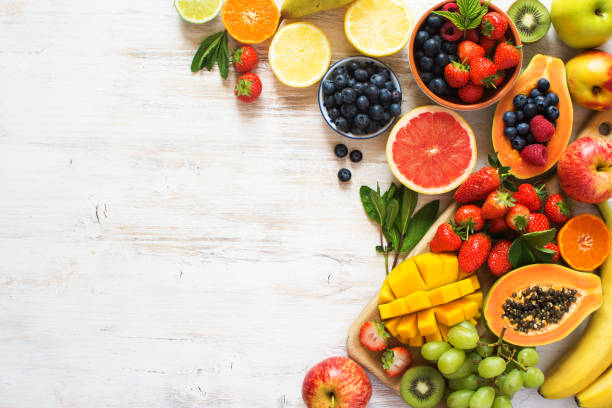 화이트 레인 보우 과일 평면도 - 열대 과일 뉴스 사진 이미지