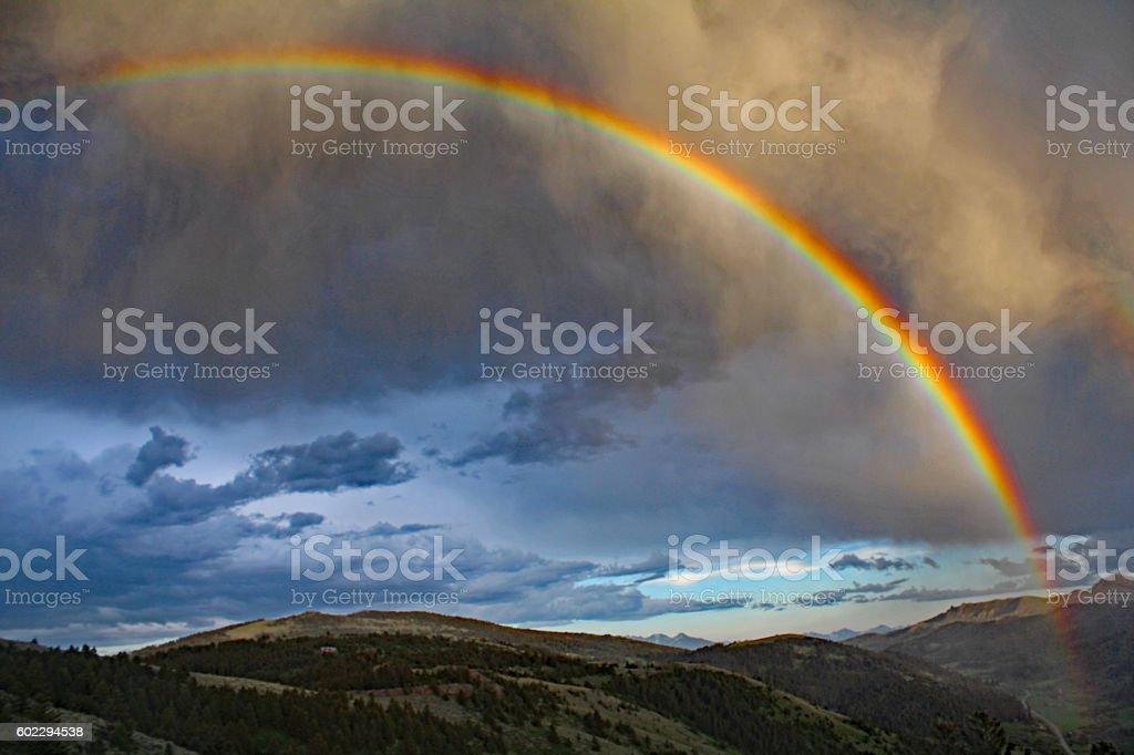 Rainbow, Gallatin Mountains stock photo