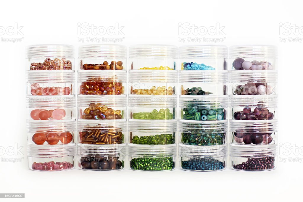 Rainbow Glass Beads Organized by Color royalty-free stock photo