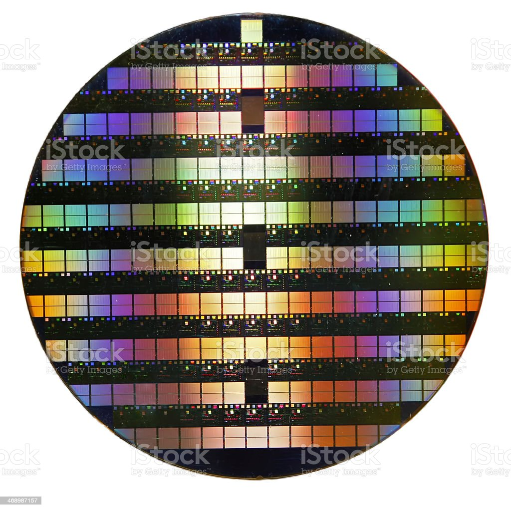 Rainbow gradient silicon wafer on a white background stock photo