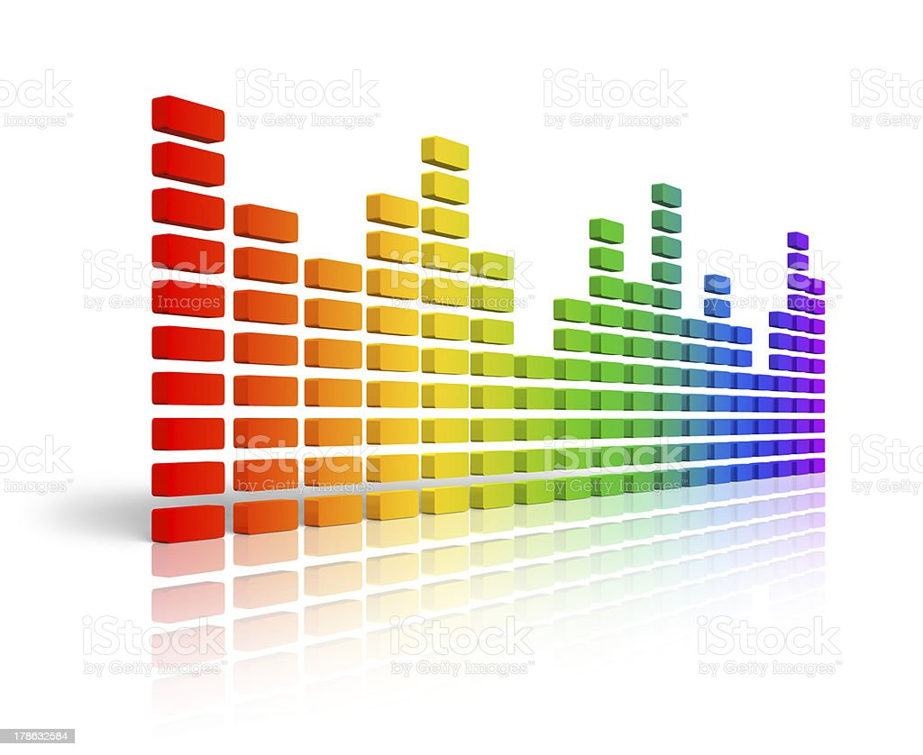 Rainbow graphic equalizer stock photo