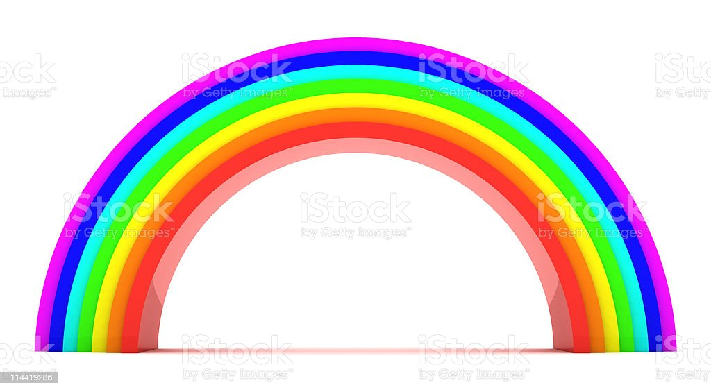 Rainbow graphic on white background stock photo