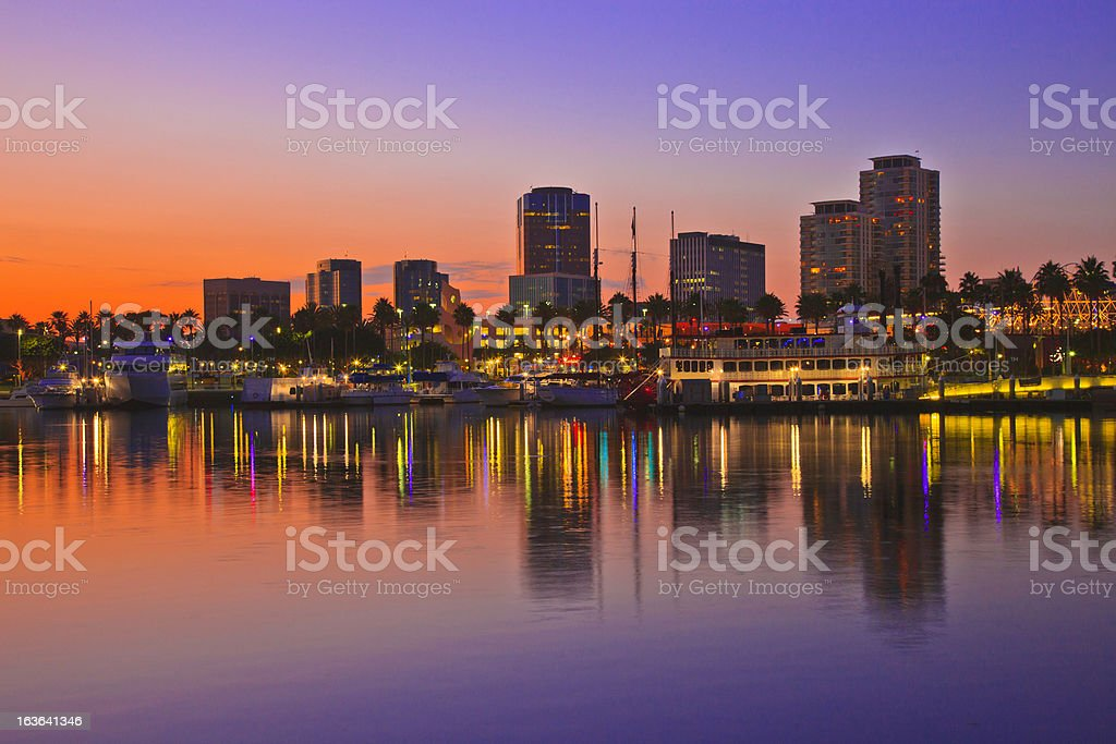 Rainbow Harbor, Long Beach, California illuminated at dusk stock photo