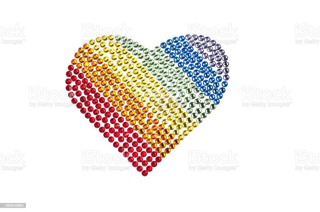 Rainbow heart made of Rhinestones royalty-free stock photo