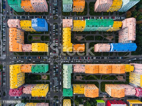 Colored rainbow houses in Kiev aerial view